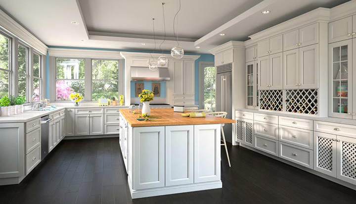 Uptown white RTA kitchen cabinets